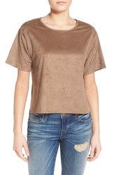 Junior Women's Sun And Shadow Oversize Faux Suede Tee Tan Greige