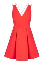 Topshop Strappy Bonded Mini Dress Coral