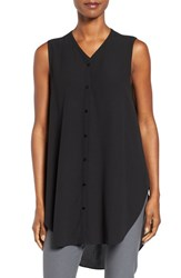 Eileen Fisher Women's Silk Georgette Crepe Asymmetrical V Neck Top