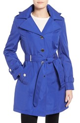 Women's Calvin Klein Single Breasted Belted Trench Coat Royal Blue