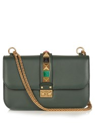 Valentino Lock Large Leather Shoulder Bag Dark Green