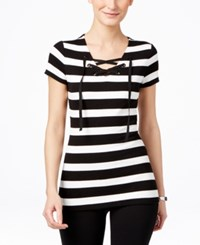 Inc International Concepts Striped Lace Up T Shirt Only At Macy's Deep Black Bright White