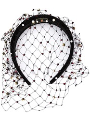 Piers Atkinson Hand Embroidered Pearl And Sequin Veil Hair Band Black