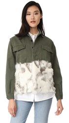 Harvey Faircloth Military Jacket With Faux Fur Trim Alabaster