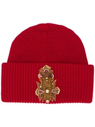 Dondup Front Patch Beanie Red