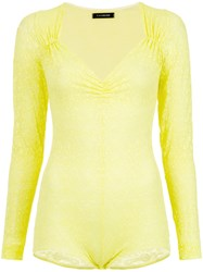A La Garconne Ruched Neck Body Yellow And Orange