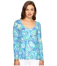 Lilly Pulitzer Sorella Top Sparkling Blue Oh Shucks Women's Clothing