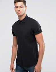 Burton Menswear Slim Short Sleeve Linen Shirt Black