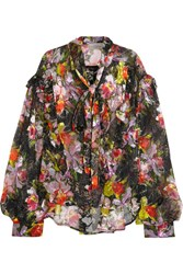 Preen By Thornton Bregazzi Cora Printed Devore Silk Blend Chiffon Top Black