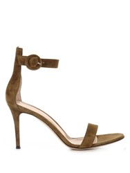 Gianvito Rossi Portofino Suede Sandals Dark Green