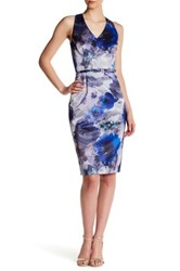 David Meister Floral Print V Neck Sheath Dress Multi