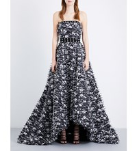 Prabal Gurung Strapless Embellished Fil Coupe Gown Black White