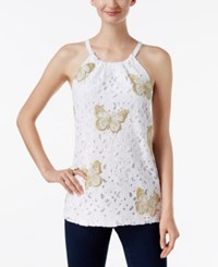 Inc International Concepts Embroidered Lace Halter Top Only At Macy's Bright White