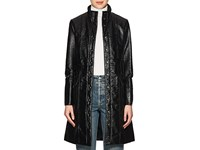 Lisa Perry Coated Cotton Trench Coat Black