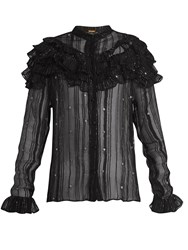Dodo Bar Or Suzie Ruffle Trimmed Sheer Striped Chiffon Blouse Black Silver