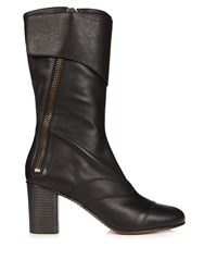 Chloe Lexie Leather Block Heel Boots Black