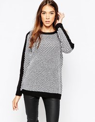 Gestuz Jumper With Contrast Stripe Sleeve Snowwhite