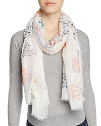 Altea Embroidered Leaves Scarf White