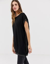 Qed London Tunic Top With Embellished Detail Black