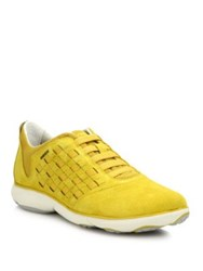 Geox Nebula Intersect Suede Sneakers Green Dark Yellow