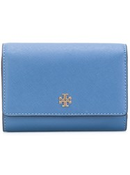 Tory Burch Fold Over Wallet Women Leather One Size Blue