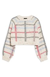 Topshop Check Pattern Sweater Ivory Multi