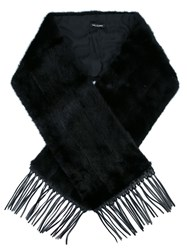 Yves Salomon Fringed Edge Oversized Scarf Black