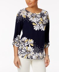 Alfred Dunner Seas The Day Floral Print Tunic Navy