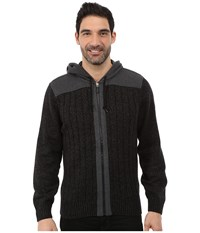 Dkny Long Sleeve Rib Full Zip Hooded Sweater Black Men's Sweater