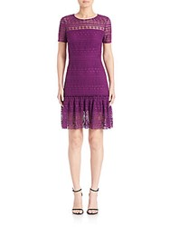 Elie Tahari Jacey Fit And Flare Lace Dress Garnet