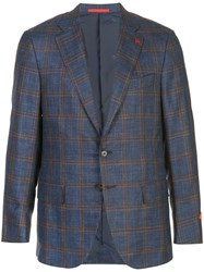Isaia Classic Single Breasted Blazer Blue
