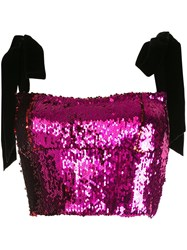 Rachel Gilbert Addie Sequin Crop Top Pink