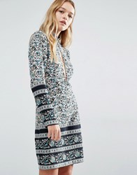 Rollas Rolla's Paisley Print Shift Dress With Open Front And Back Floral Multi