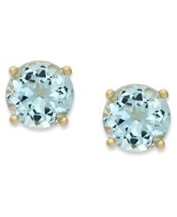 Victoria Townsend 18K Gold Over Sterling Sterling Earrings March's Birthstone Aqua Topaz Stud Earrings 2 Ct. T.W. None