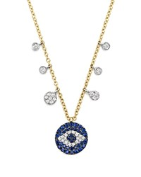 Meira T Sapphire And Diamond Evil Eye Necklace In 14K Yellow Gold 16