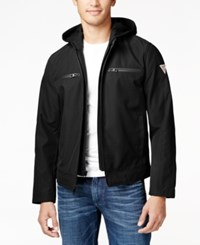 Guess Men's Detachable Hood Full Zip Motorcycle Jacket Black
