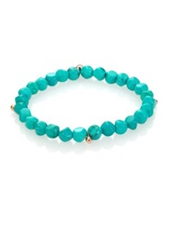 Ginette_Ny Fallen Sky Turquoise And 18K Rose Gold Beaded Stretch Bracelet Rose Gold Turquoise