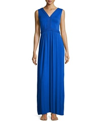 Neiman Marcus Braided Sleeveless Maxi Dress Intense Cobalt