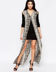 Liquorish Shift Dress With Printed Maxi Overlay In Snake Print Black