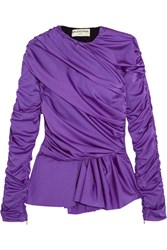 Balenciaga Gathered Satin Jersey Peplum Top Purple