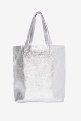 Hold Your Own Metallic Tote Bag Silver