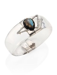 Alexis Bittar Lucite Labrodorite And Crystal Cuff