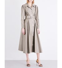 Alessandra Rich A Line Coated Cotton Blend Coat Green