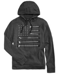 Ring Of Fire Men's Zipper Flag Hoodie Charcoal Heather