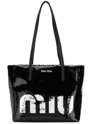Miu Miu Logo Sequin Tote Bag Black