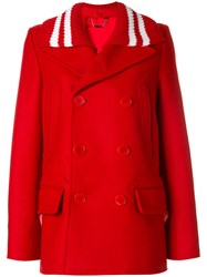 Givenchy Removable Collar Short Peacoat Cotton Polyamide Viscose Wool Red