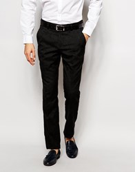 Vito Suit Trousers With Tonal Floral Jacquard In Slim Fit Black