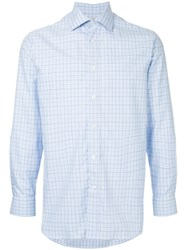 Gieves And Hawkes Check Fitted Shirt Blue