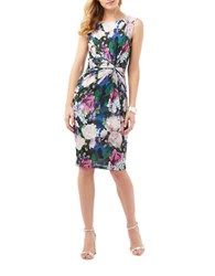 Phase Eight Rose Print Dress Blue White Multi