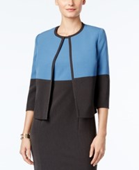 Kasper Petite Colorblocked Open Front Blazer Blue Grey